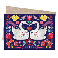Greeting Card - Swans Embrace