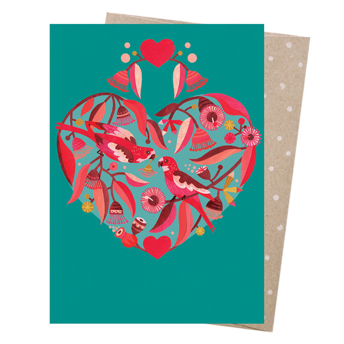 Greeting Card - Sweetheart Parrots